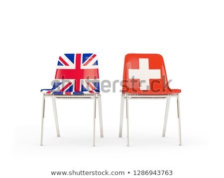 Dois cadeiras bandeiras Suíça isolado branco Foto stock © MikhailMishchenko