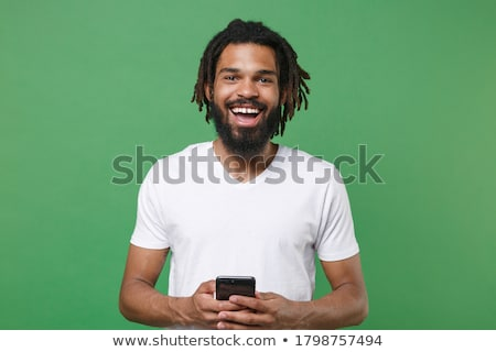 счастливым · молодые · африканских · человека · портативного · компьютера - Сток-фото © deandrobot