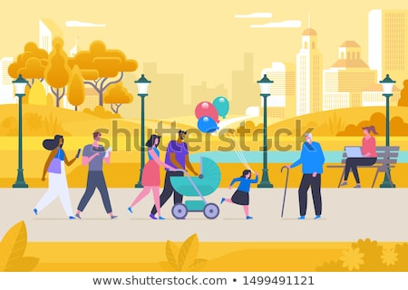 Stock photo: Family People with Pram, Couple Working in Park