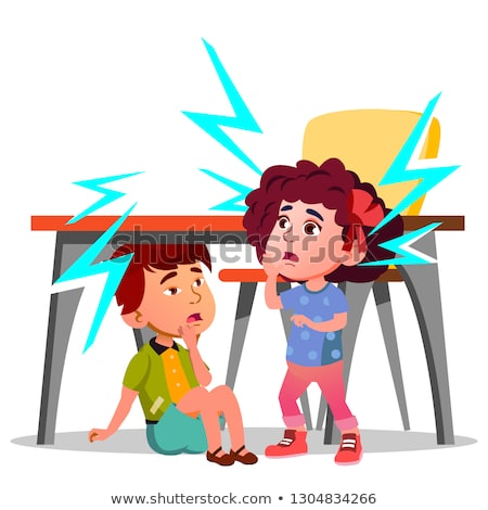 Two Frightened Kids Sitting Under The Table During Earthquake Vector. Isolated Illustration Stock photo © pikepicture