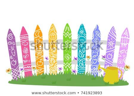 庭園 フェンス 虹 色 いたずら書き 実例 ストックフォト © lenm