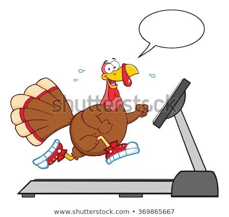 улыбаясь Турция работает бегущая дорожка речи пузырь Сток-фото © hittoon