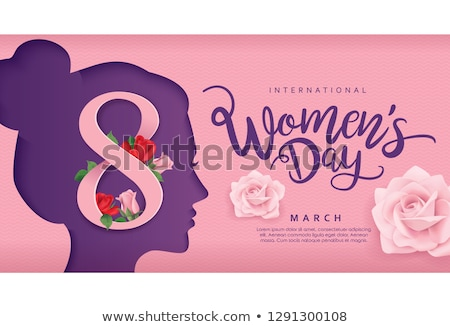 Happy Womens Day Floral Greeting card. International Holiday Illustration with Flower and Typography Stock photo © articular