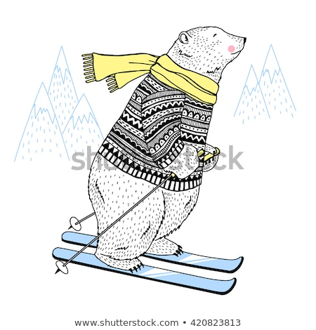 Doodle animale contorno orso polare illustrazione natura Foto d'archivio © colematt