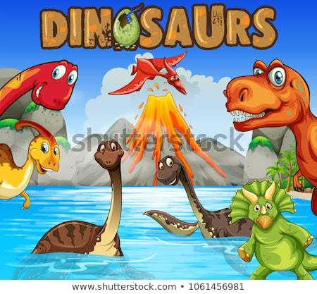 различный Динозавры океана иллюстрация пейзаж морем Сток-фото © colematt