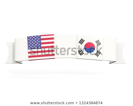 Bandeira dois praça bandeiras Estados Unidos Coréia do Sul Foto stock © MikhailMishchenko