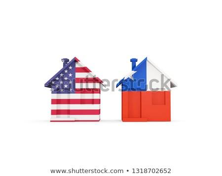 Stock fotó: Kettő · házak · zászlók · Egyesült · Államok · Chile · izolált