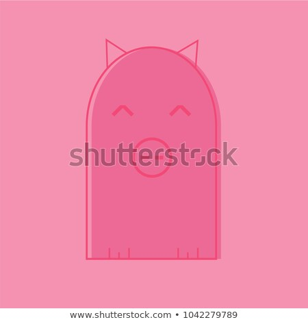 Colorful stylized drawing of cute cartoon pig swine - for icon or sign template Stock photo © Natali_Brill