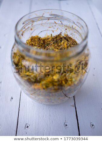 preparation of coltsfoot syrup from fresh coltsfoot flowers stock photo © madeleine_steinbach