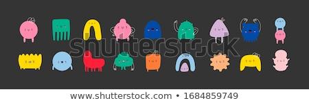 Stock photo: Black Comic Tiny Monster Vector Set