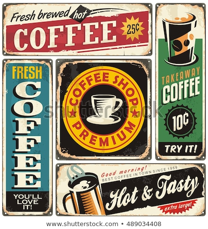 Vector Coffee poster in vintage style with typography elements Stock photo © Giraffarte