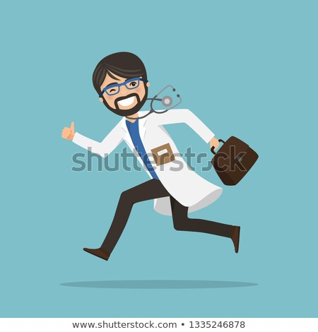 emergency man doctor running to help with stethoscope showing ok gesture stock photo © imaagio