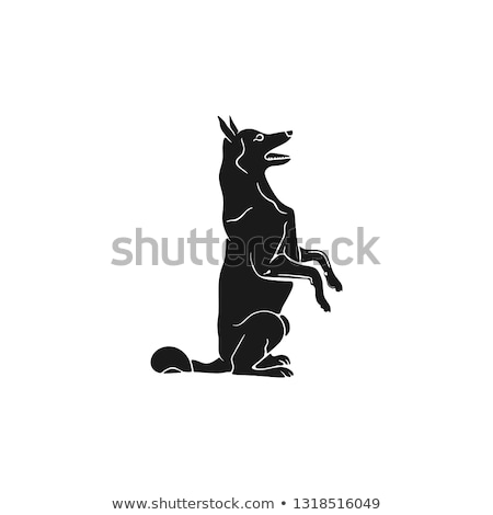 Shepherd silhouette icon. Monochrome sitting dog shape. Stock vector animal element for web or print Stock photo © JeksonGraphics