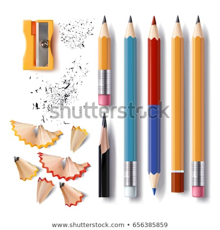 Shavings Pencil Set Stationery Vector. Wooden, Graphite. Realistic Isolated Illustration Stock photo © pikepicture