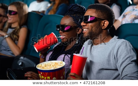 Stock fotó: Lovely Couple Watching 3d Movie