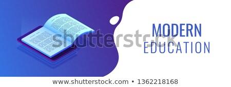 Online oktatás izometrikus 3D szalag fejléc diákok Stock fotó © RAStudio