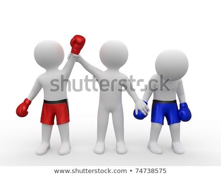 3D nyertes boxoló vadászrepülő felemelt kezek 3d render Stock fotó © ribah