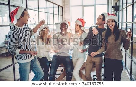 Feliz equipe natal escritório festa Foto stock © dolgachov
