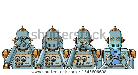 robot with telephone, Internet addiction concept. not see hear say Stock photo © studiostoks
