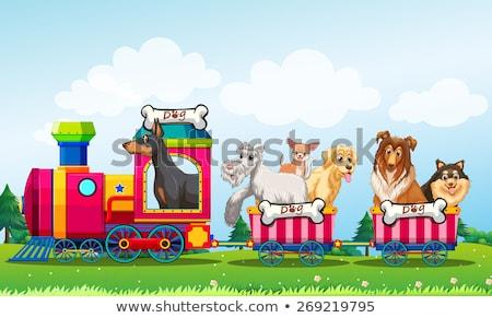 Raining scene with animals on the train Stock photo © colematt