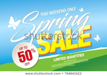 Stockfoto: Big Spring Discount Labels On Posters Butterflies