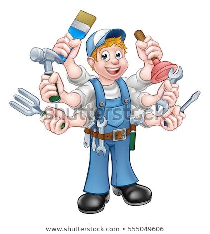 Stok fotoğraf: Elektrikçi · karikatür · el · ulağı · tesisatçı · mekanik · adam