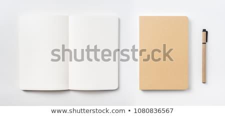 vektor · nyitva · jegyzettömb · ceruza · xxl · ikon · üres - stock fotó © adamson