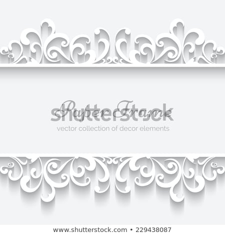 Vector lace seamless pattern, retro wedding lace border or frame design in white on gray background Stock photo © RedKoala