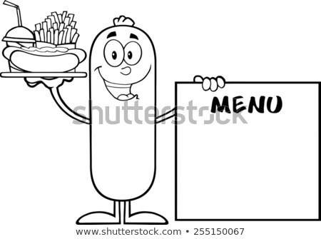 Black And White Sausage Carrying A Hot Dog, French Fries And Cola Next To Menu Board Stock photo © hittoon