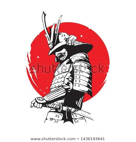 самураев человека кимоно меч черно белые Сток-фото © Bananna