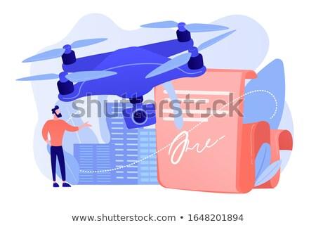 Uçan işadamı okuma belge uçak kurallar Stok fotoğraf © RAStudio