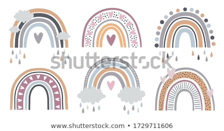 arched rainbow with cloud pink background Stock photo © SArts