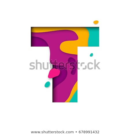 Colorful paper cut out font Letter T 3D Stock photo © djmilic