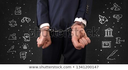 Semboller kelepçe adam tebeşir Stok fotoğraf © ra2studio