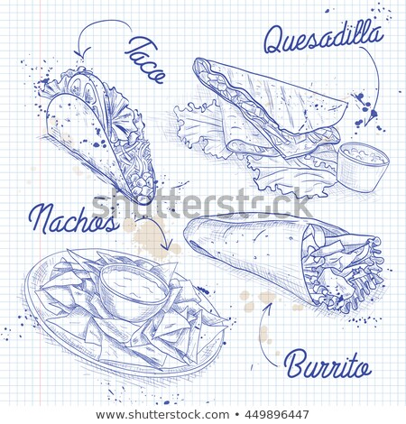 Scetch of mexican food on a notebook page Stock photo © netkov1