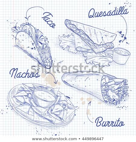 grunge · vintage · Mexicaanse · taco · poster · illustratie - stockfoto © netkov1