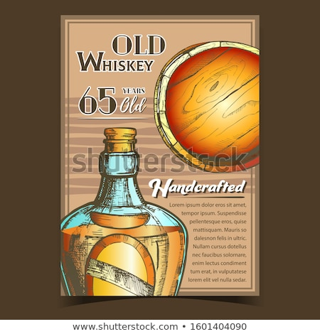color drawn blank bottle of scotch with cork cap vector stock photo © pikepicture