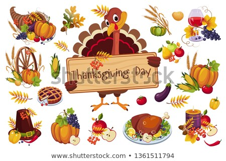 happy thanksgiving turkey meal dish poster vector stock photo © robuart