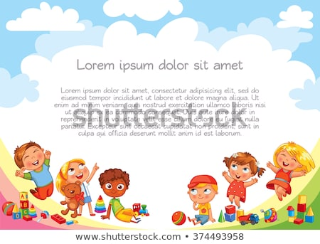 gelukkig · kinderen · cartoon · banner · witte · abstract - stockfoto © bluering