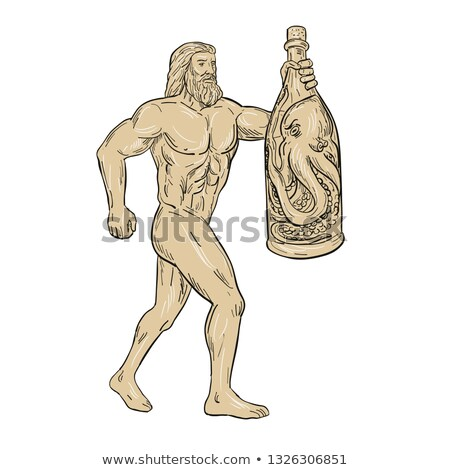 Hercules With Bottled Up Angry Octopus Drawing Stock photo © patrimonio