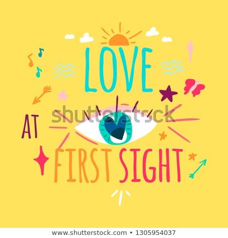 Liefde eerste zicht kleur wenskaart ontwerp Stockfoto © barsrsind