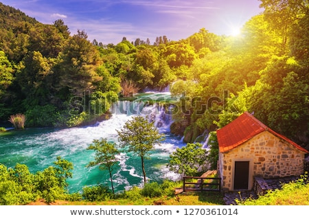 Vízesés Horvátország nagy park víz fa Stock fotó © borisb17
