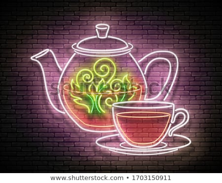 Vintage Glow Signboard with Ornate Glass Tea Pot and Cup Stock photo © lissantee