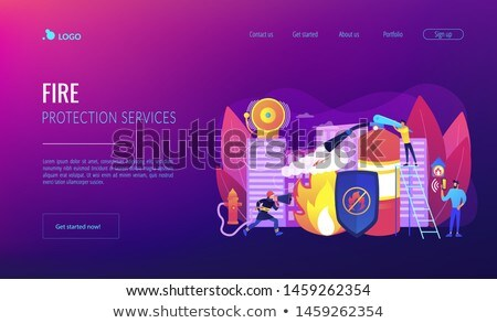 Fire protection concept landing page. Stock photo © RAStudio
