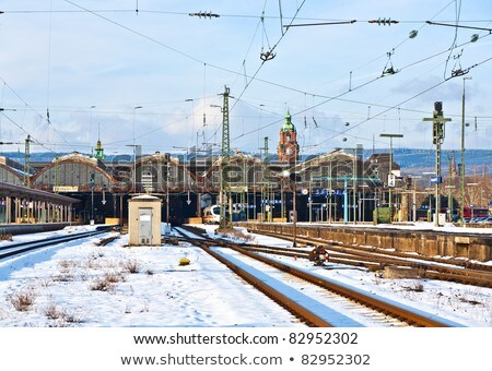 station in wiesbaden in snow stock photo © meinzahn