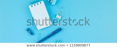 Escolas área de trabalho azul livro caneta Foto stock © przemekklos