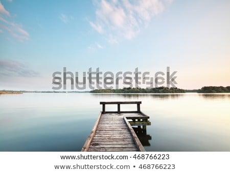 napfelkelte · fából · készült · móló · tó · víz · fa - stock fotó © mikko