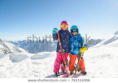 Gyerekek síelő illusztráció sport hó tél Stock fotó © adrenalina