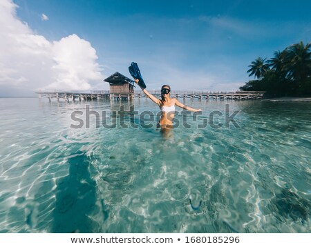 pretty blonde with snorkel and flippers  Stock photo © wavebreak_media