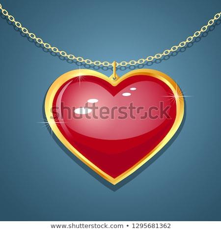 серебро · сердце · ожерелье · изолированный · белый · женщину - Сток-фото © petrmalyshev